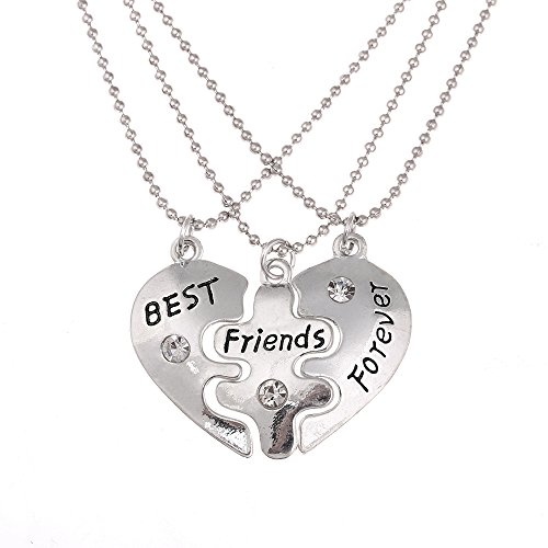 lureme Best Friends Forever Broken Heart with Crystal 3 Piece Necklace Set(nl004224)