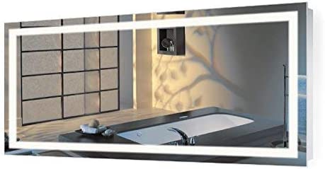 Amazon Com Large 66 Inch X 36 Inch Led Bathroom Mirror Lighted Vanity Mirror Includes Dimmer Defogger Wall Mount Vertical Or Horizontal Installation 60 X 30 Kitchen Dining