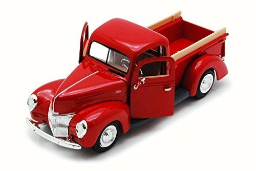 Motor Max 1940 Ford Pick Up truck, Red 73234 - 1/24 Scale Diecast Model Toy Car ()