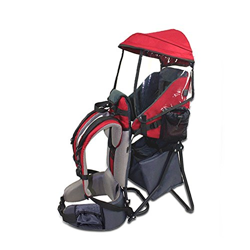 Baby Carrier, TECKCOOL Baby Toddler Backpack Cross country Carrier w/Stand Child Kid Sunshade Visor,Upgraded foot straps,Holds up to 50 Pound Ideal for Children Between 6 months-4years old (red) ()