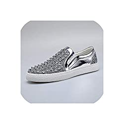 Flats Sneakers With Diamond Rhinestones Spikes