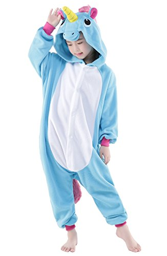 Newcosplay Children Unisex Unicorn Onesie Pajamas Costume (125#, New Blue Unicorn)
