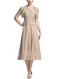 DINGZAN Chic Tea Length Bride Mother Dresses Short Lace Sleeves Jacket