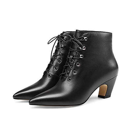 CXQ-Boots qin&X Women's Block Heel Pointed Toe Short Ankle Boots Shoes Black Warm Inner EgOTRN