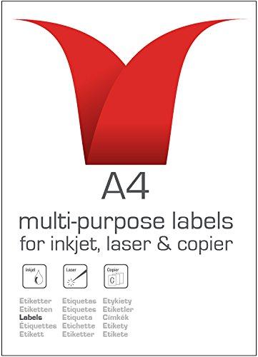 fustellate 99,1 x 139 mm 100 fogli per scatola//400 etichette per confezione Etichette autoadesive multiuso A4 bianche 4 etichette per foglio