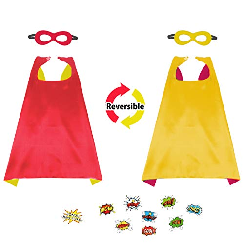 Flying Childhood Inspired Cape and Mask Set with 48 DIY Superhero Word Cutouts - BoysGirls Halloween Dress Up Costume (red-Yellow)