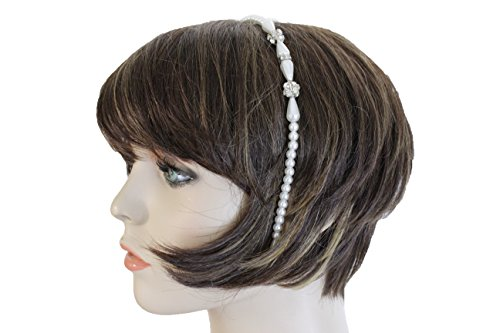 TFJ Women Headband Classy Fashion Hair Jewelry Ivory Pearl Beads Ladies Wedding Band