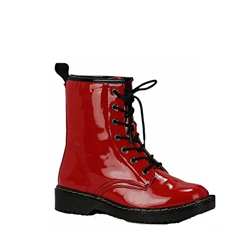 Overknee Stiefel Damen Schuhe Boots Klumpige Schule Stiefelparadies Qualitätschnüren Sich Kinder Größe 3-8 Stil 1 - Rot