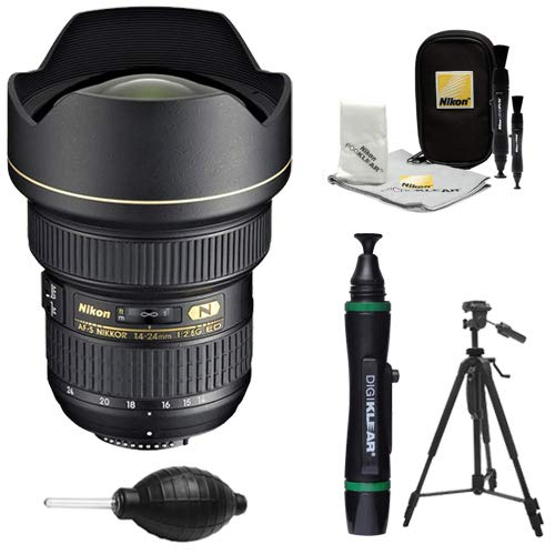 Nikon 14-24mm f/2.8G AF-S ED Zoom-Nikkor Lens with Tripod + Kit for D3200, D3300, D5300, D5500, D7100, D7200, D750, D810 Cameras