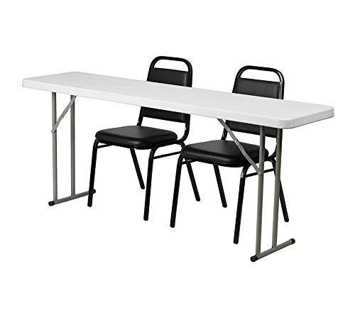 72' Executive L-shaped Desk - Wood & Style Office Home Furniture Premium 18'' x 72'' Plastic Folding Training Table Set with 2 Trapezoidal Back Stack Chairs