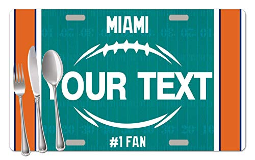 BRGiftShop Personalized Custom Name Football Team Miami Set of 4 Table Placemats ()