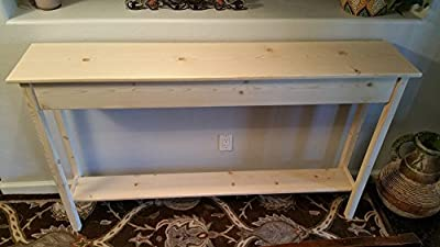 "60"" Unfinished Pine Wall, Foyer, Sofa , Console, Hall Table With Bottom Shelf"