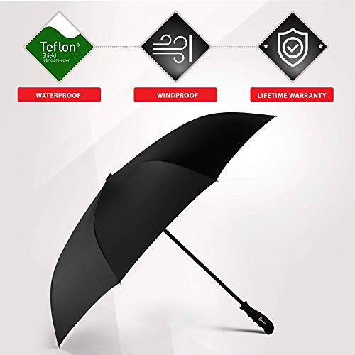 Repel Reverse Folding Inverted Umbrella with 2 Layered Teflon Canopy with Reinforced Fiberglass Ribs (Starry Night)
