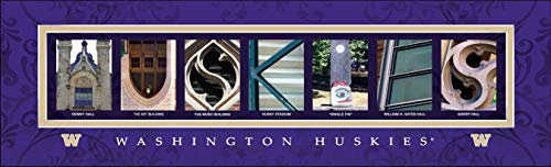 (College Campus Letter Art Washington Huskies Bold Print Unframed Poster 18x6 Inches)
