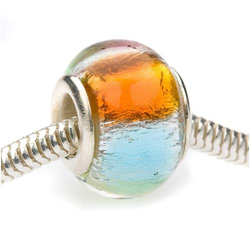 Beadaholique 14mm Round Murano Style Glass Silver Foil Lamp work Bead, Fits Pandora, Rainbow