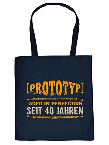Tolles Geschenk für alle. Originelle Stofftasche / Henkeltasche mit Druck - PROTOTYP SEIT 40 JAHREN - Navy-Blau