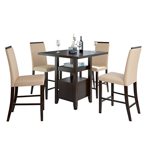 CorLiving DPP-690-Z1 5-Piece Bistro Counter Height Rich Cappuccino Dining Set, Desert Sand
