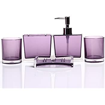 HQdeal Luxurious Bathroom Accessory Acrylic Set Of Five Pieces  Purple