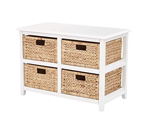 Оsp Dеsigns Deluxe Premium Collection Office Star Seabrook 2-Tier 4-Drawer Storage Unit with Natural Baskets White Finish Decor Comfy Living Furniture