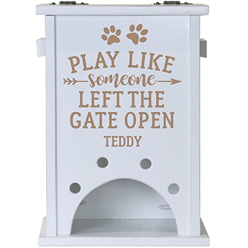 Personalized White Custom Play Like Engraved Pine Pet Toy Box Storage Organizer, Birthday gift for Dogs, Daughter, Sons, Boys and Girls, Grandchildren, Made in USA By Rooms Organized (White) by Rooms Organized (Image #1)