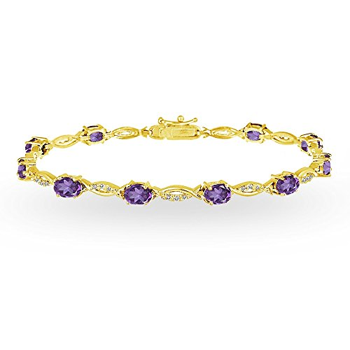 (GemStar USA Yellow Gold Flashed Sterling Silver African Amethyst and White Topaz Oval-Cut Swirl Tennis Bracelet)