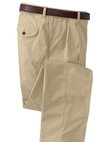 Orvis Men's Cotton-Blend Chinos - Pleated Front, Khaki, Cuffed, 40W X 30 1/2L