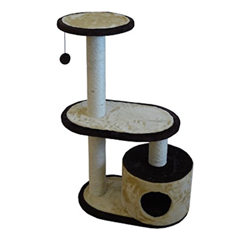 Iconic Pet Three Tier Sisal Rope Cat Tree Condo Furniture in Beige Brown Color -Highly Durable, Sisal Roped Scratching Towers with Cat Condo House, Plush Toy Makes Kitty Play with Fun