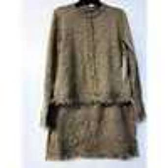 Skirt And Cardigan Sweater Gold Holiday Set Petite Small At Amazon