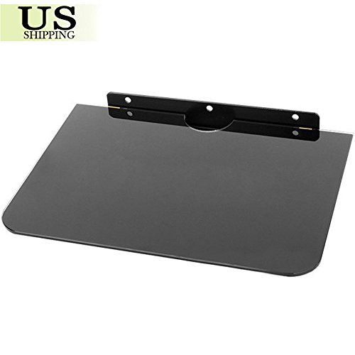 Glass Floating Shelf Wall Mount Under TV Cable Box Component DVR DVD Bracket (Door Faux Barn Mirror)