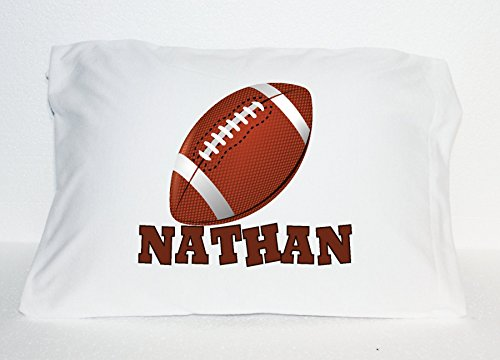 Football Personalized Custom Name Travel Pillow Case 12 x 18 inches Very Small Brown Football Collage