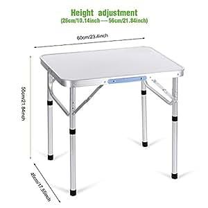 Portátil 2pies plegable de aluminio mesa de picnic al aire libre Camping con asa [nos Stock]