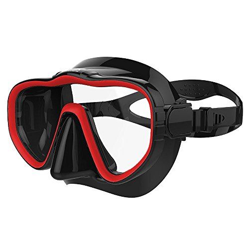Kraken Aquatics Snorkel Dive Mask with Silicone Skirt and Strap for Scuba Diving, Snorkeling and Freediving | Red (Mask Diving Black)