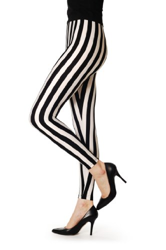 White & Black Strips - Multicolore Semi-Opaque Leggings Taille Unique (34-42)