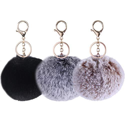 LILYFUR Womens Mens Keychain, 3 Pack Cute Faux Fur Ball Pom Pom Key Chain Charms Bag Key for Car Key Ring Handbag Tote Bag Pendant, Camel Snowtop Black Snowtop Black (Ring Fur Faux Key)