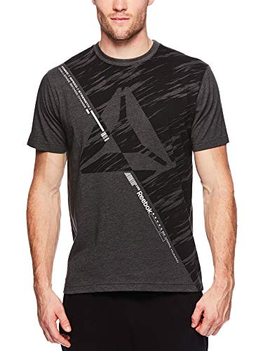 (Reebok Men's Graphic Workout Tee - Short Sleeve Gym & Training Activewear T Shirt - Aeon Charcoal Heather, Small)