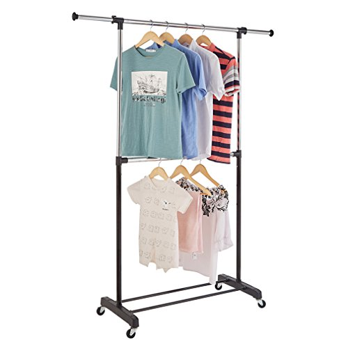RichStar 2-Tier Adjustable Clothes Rack Rolling Garment Rack-with Commercial Grade Casters,Black&Chrome¡­