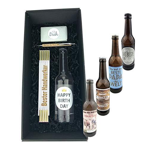 4-teilige Geschenkbox 'Für Dich' – Name wählbar – / Bier/Kulli/Zollstock/Geburtstag/Papa/Mann/Schokolade/Männer, Bier…