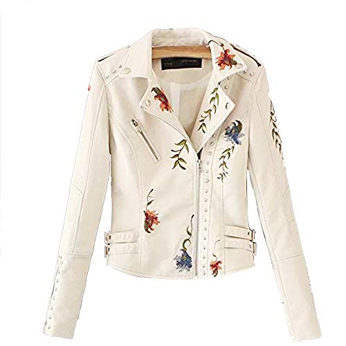 (Women's Floral Embroidered Faux Leather Moto Jacket (White, XL))