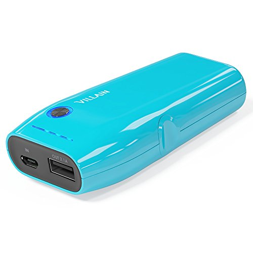 Villain Portable Power Bank Battery Charger - 5000mAh Original LG Battery Cells - Extra Lightweight (120g) with Compact Pocket Size - Fast Charging at 2.1 A - LED Indicator & Ergonomic Design [Blue]