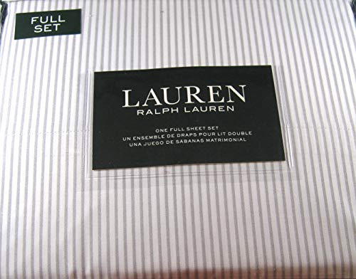 (Lauren Striped 300 Th. Ct. Full Sheet Set 100% Cotton Gray and White)