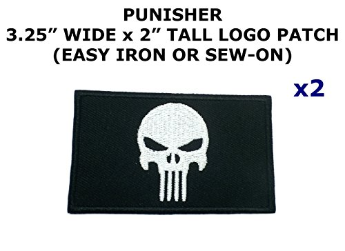 The Punisher Pc Costumes (2 PCS Punisher Tactical Theme DIY Iron / Sew-on Decorative Applique Patches)
