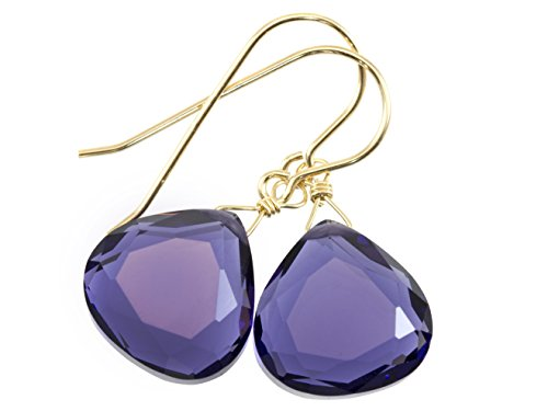 (14k Yellow Gold Filled Lavender Blue Simulated Tanzanite Earrings Faceted Heart Teardrops Simple Briolette Dangle Drops)