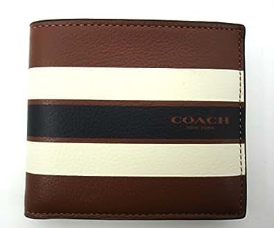 Coach Men's Double Bill Fold Varsity Leather Wallet F58349 Dark Saddle