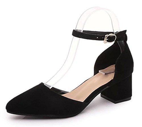 Verano Mujeres Sandalias Punta una palabra hebilla sandalias hueca gruesa con Baotou mujer sandalias, negro, us6.5–