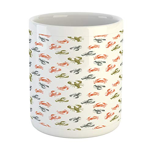 (Ambesonne Lobster Mug, Watercolor Effect Crustacean Pattern with Cancer and Lobster Shapes, Printed Ceramic Coffee Mug Water Tea Drinks Cup, Vermilion Khaki and)