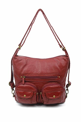 (Convertible Purse - Both Backpack and Shoulder Bag in Soft Vegan Leather (Burgundy))