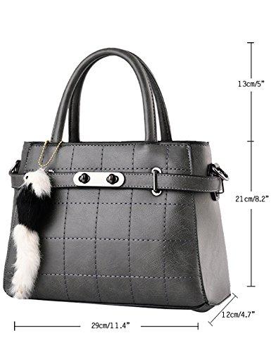 Buio Bag nuove Leggero lucida Grigio CUKKE signore Tote borsa Leather PU Grigio a tracolla Bq167