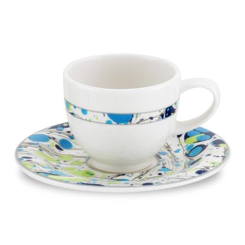 PORTMEIRION NOVELLA MOONLIGHT Espresso cups & saucers set of 2
