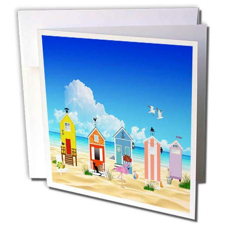 3dRose Lens Art by Florene - Flamingo and Beach Art - Image of Colorful Beach Huts with Flamingo On Ocean - 12 Greeting Cards with envelopes (gc_303371_2)