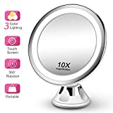 Makeup Mirror 10X Magnifying Vanity Mirror - 3 Color Modes & 36 LED Cosmetic Mirror, High Definition, Touch Control, 360°Rotation & Powerful Suction Cup for Bathroom Shower Travel